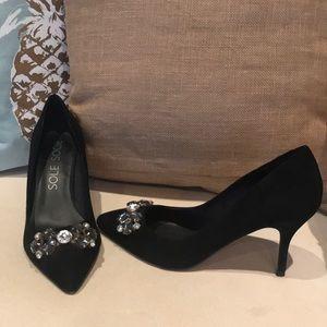 Sole Society black suede embellished pumps